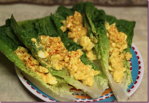 egg salad on lettuce