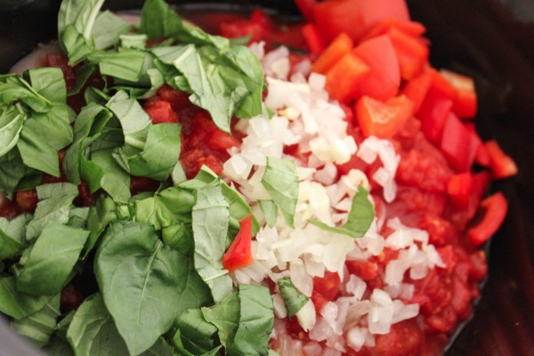 Chicken cacciatore ingredients in the crockpot