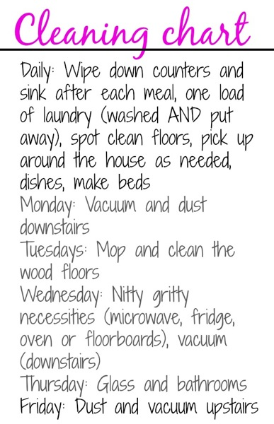 My Cleaning Chart Around The House Tips