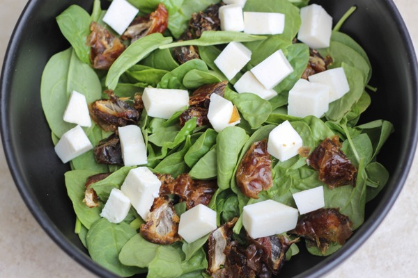 To go along with the chicken, a date and goat cheese salad + creamy ...