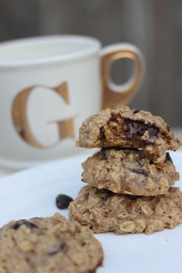Healthy oatmeal peanut butter chocolate chip cookie stack