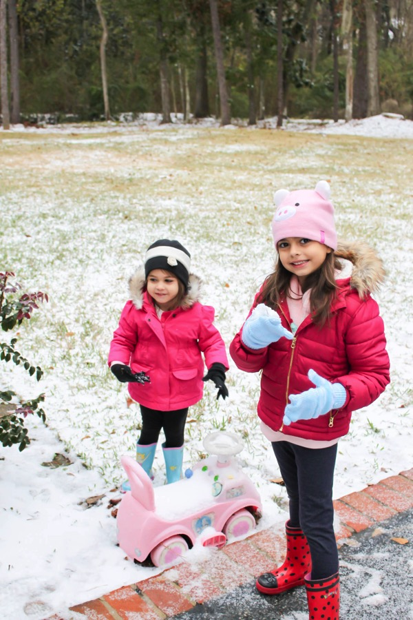 Girls playing in the Georgia snow